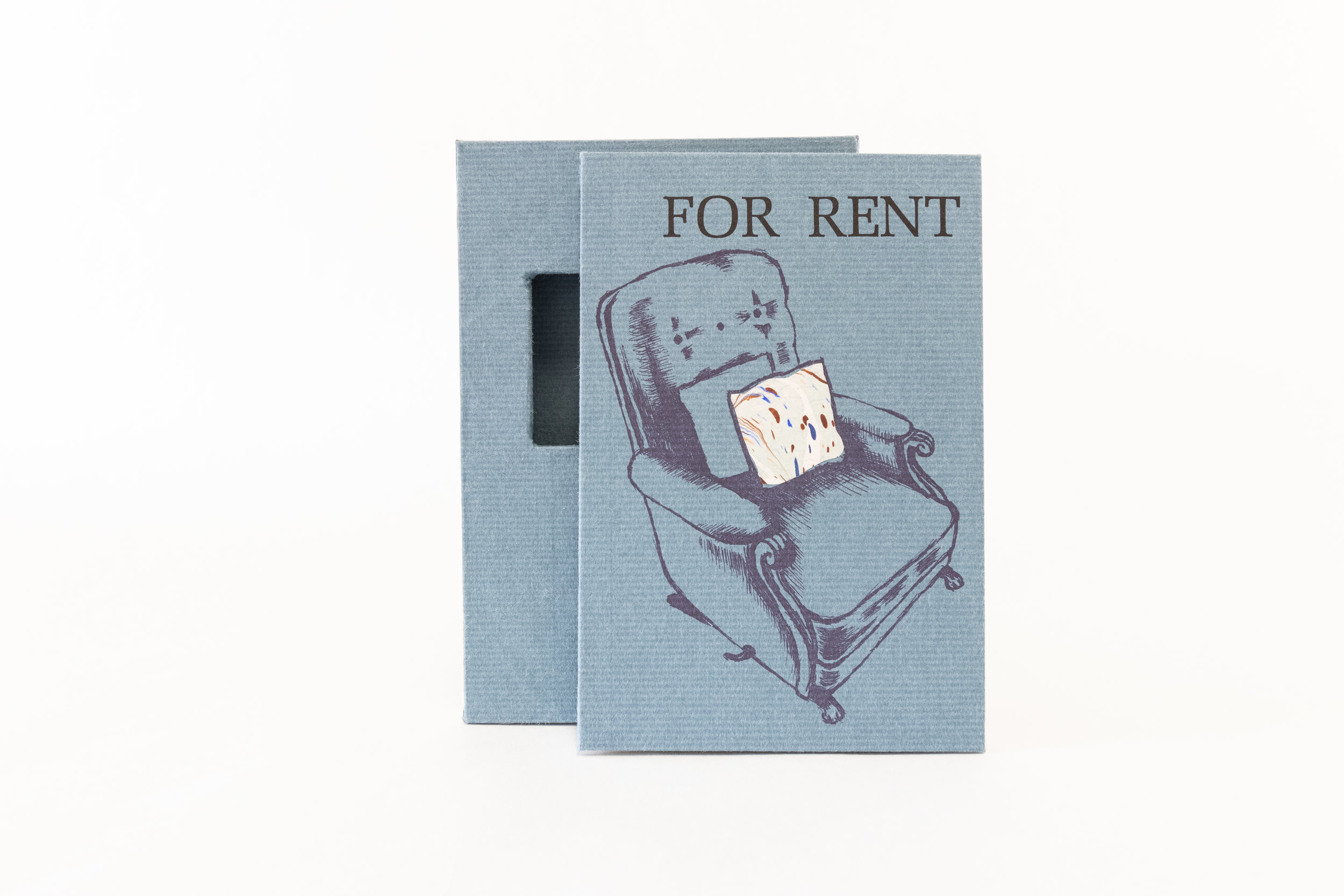 "Eileen Kitrick, ""For Rent,"" Tri-fold leporello book and slipcase (letterpress-printed linocuts, photopolymer plates and pochoir), 2017, $280, Colorado Springs, CO"