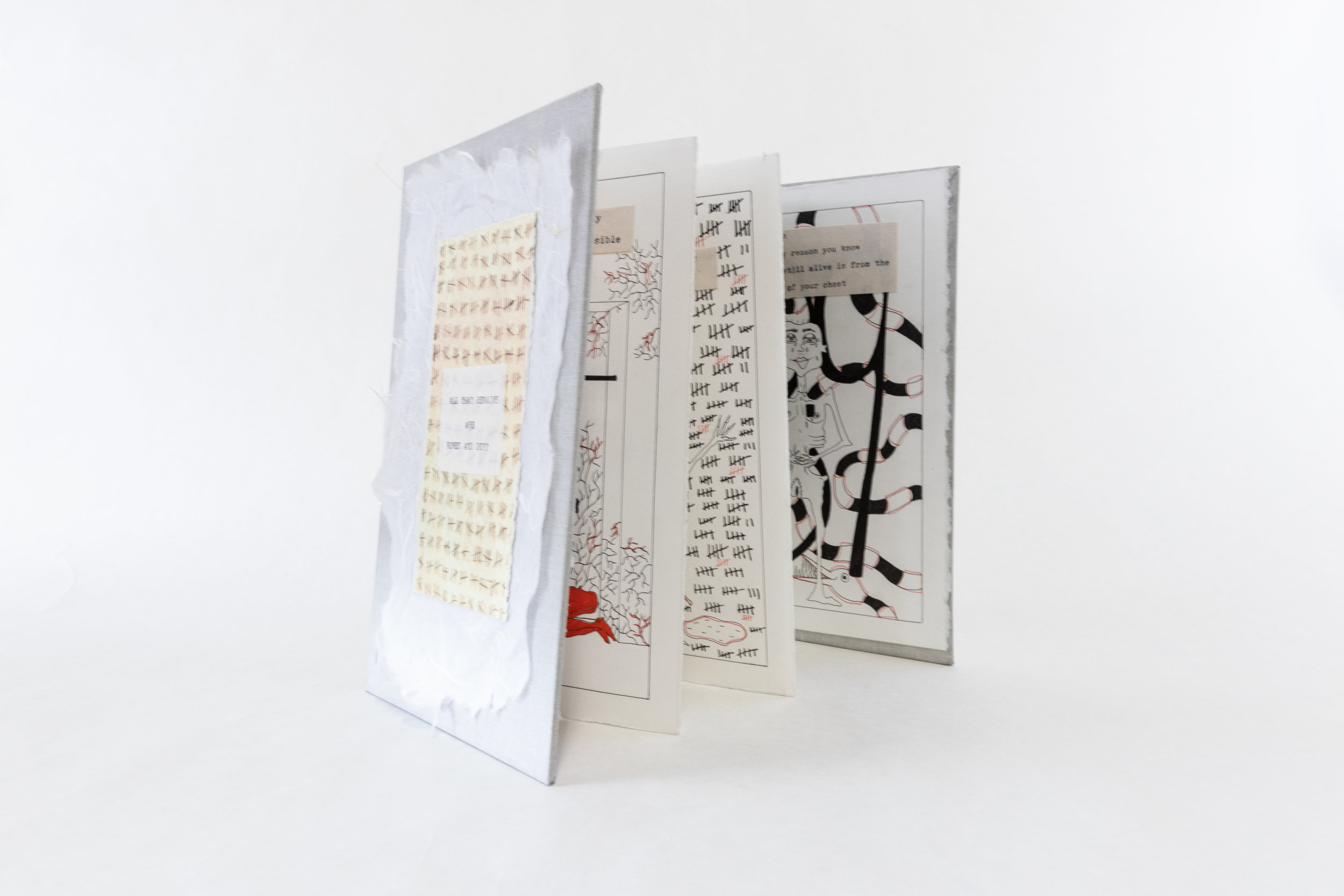 """Erica Eschenburg, """"All that Remains are Bones and Dust,"""" Accordion book and red and black pen, 2019, Contact the Artist for Price, Whitmore Lake, MI"""