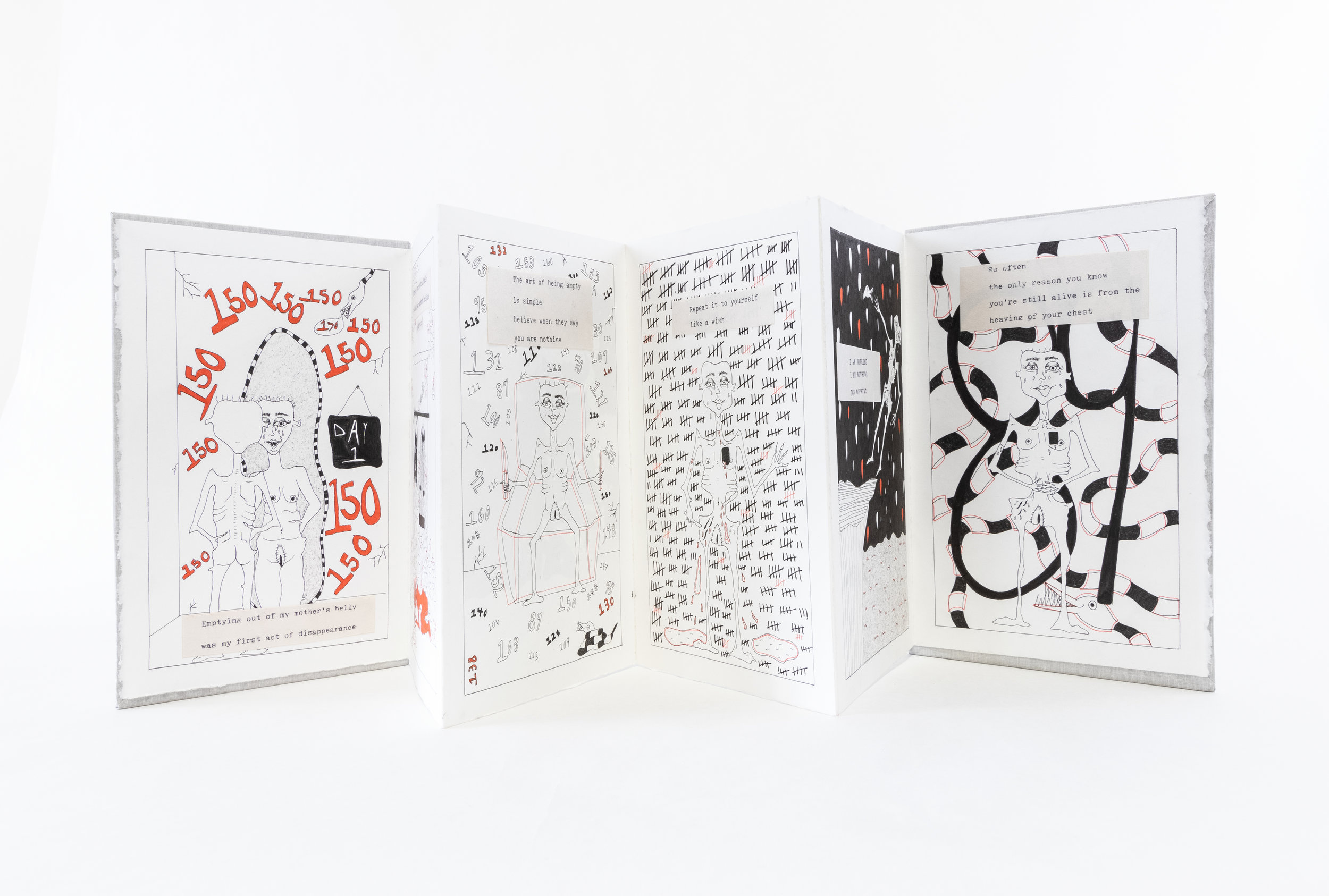 "Erica Eschenburg, ""All that Remains are Bones and Dust,"" Accordion book and red and black pen, 2019, Contact the Artist for Price, Whitmore Lake, MI"