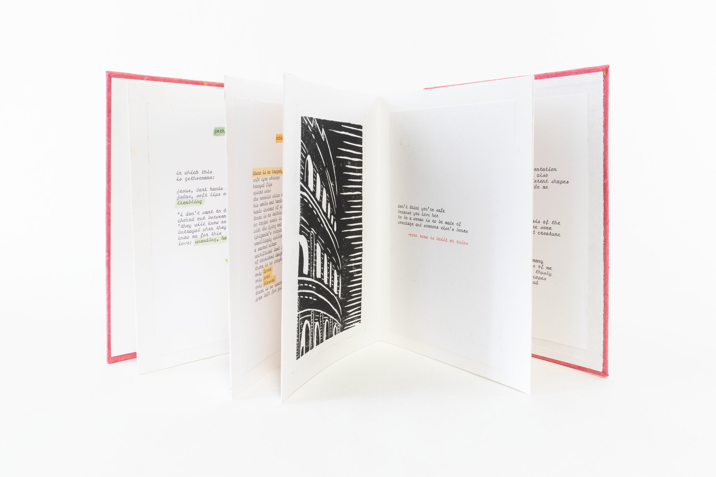 "Hana, Holmgren, ""Angels Eat Balck Holes for Brunch,"" Sketch paper with typwritten poetry, 2019, NFS, Kalamazoo, MI"