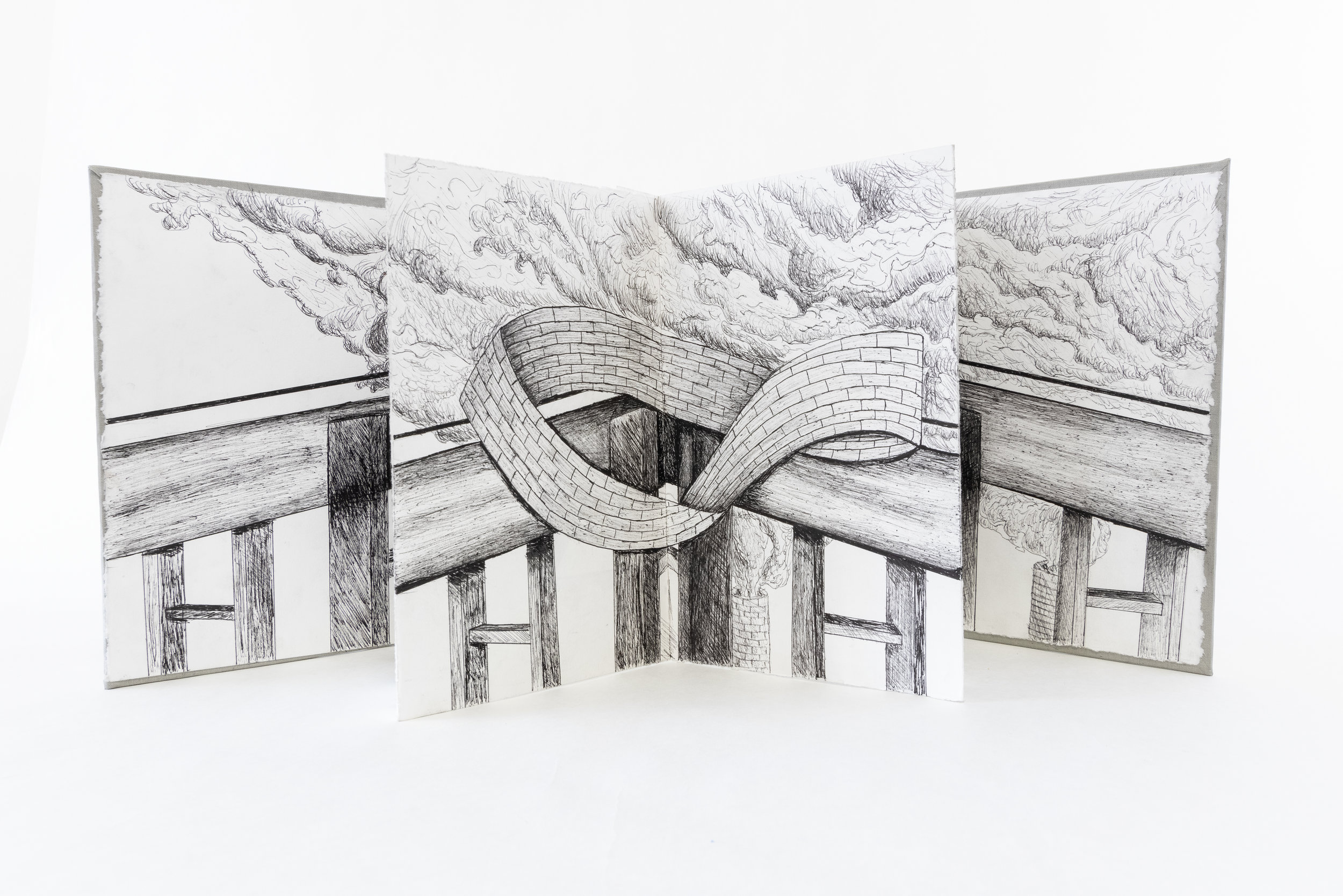 "Lucas Neujahar, ""Accordion Book--Illusions,"" Pen and Ink, 2019, NFS, Delton, MI"