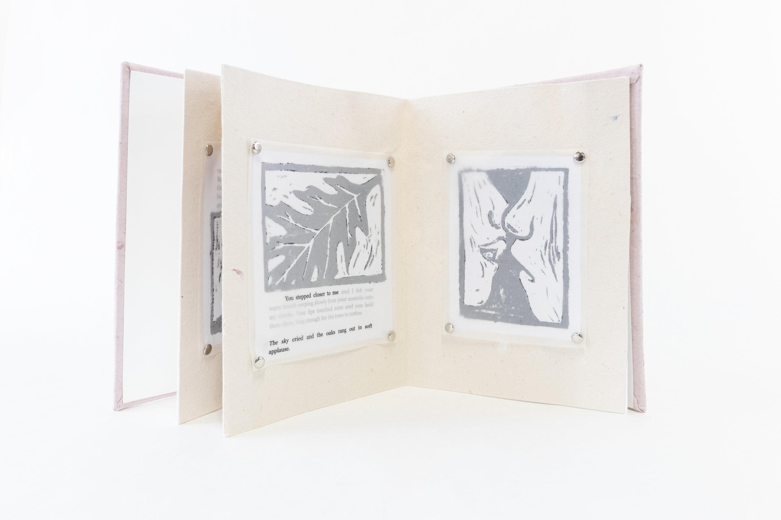 "Madeline Peterson, ""Nineteen Eighty-Four,"" Handmade Paper, ink, 2019, Portage, MI"