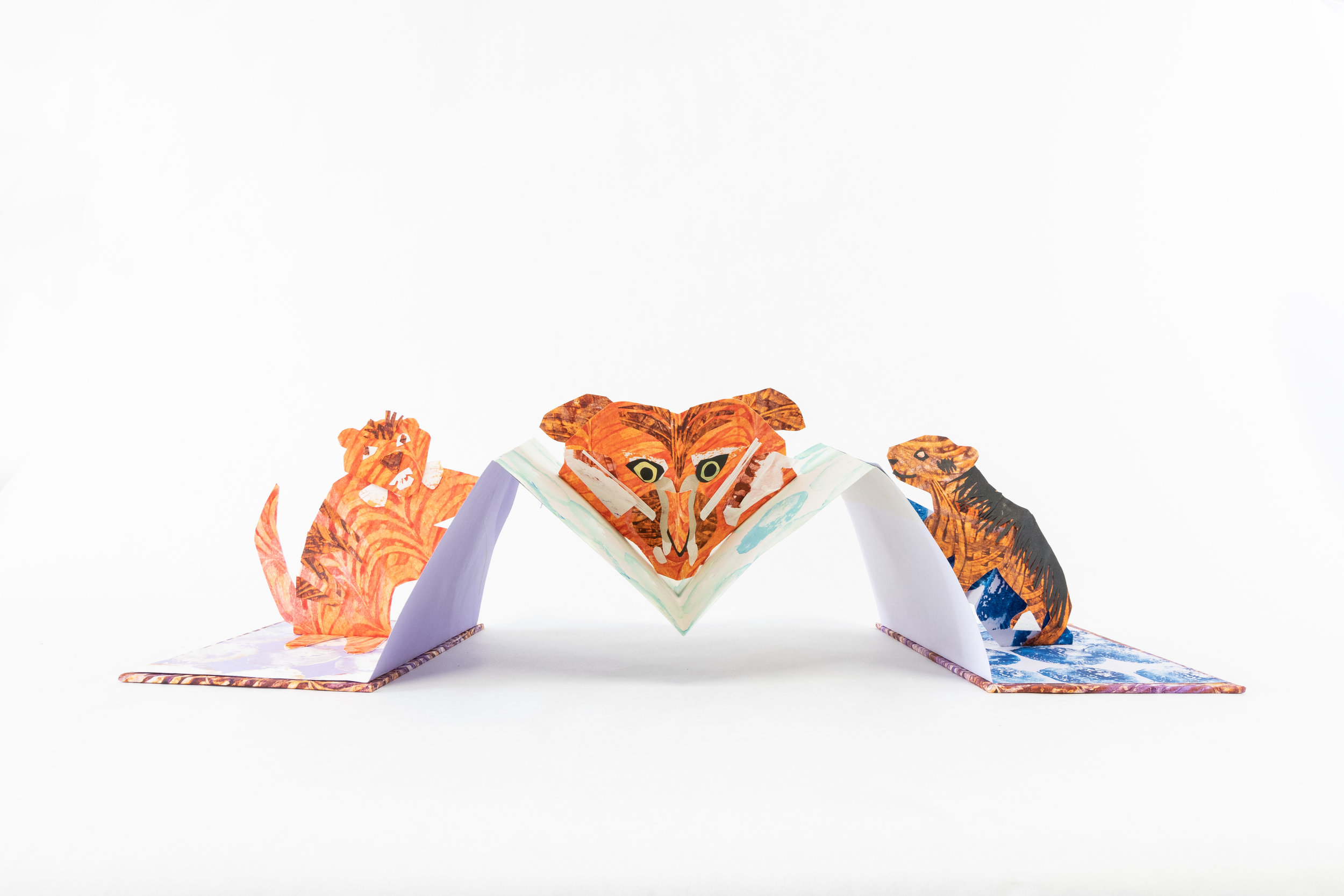 """Katie Platte, """"Dreamtigers,"""" Handmade and commercial papers with potato prints, paste paint and letterpress, 2019, $100, Kalamazoo, MI"""