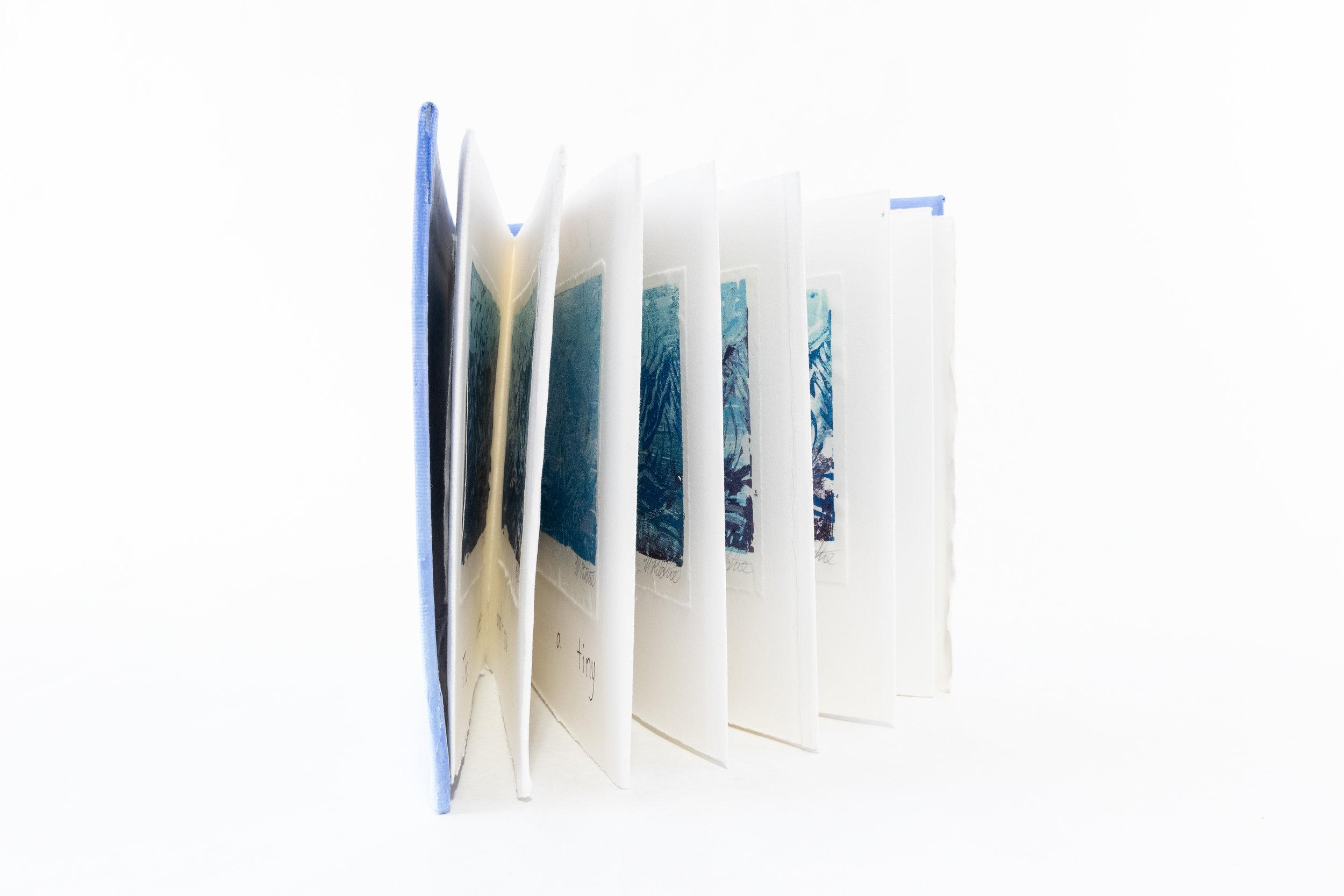 "Martha Jane Ritchie, ""Tribute to Hokusai-36 Mountain Prints-Book II,"" Mixed Medium, Styrofoam prints on rag paper, 2016, $120, Haines Jct, Canada"
