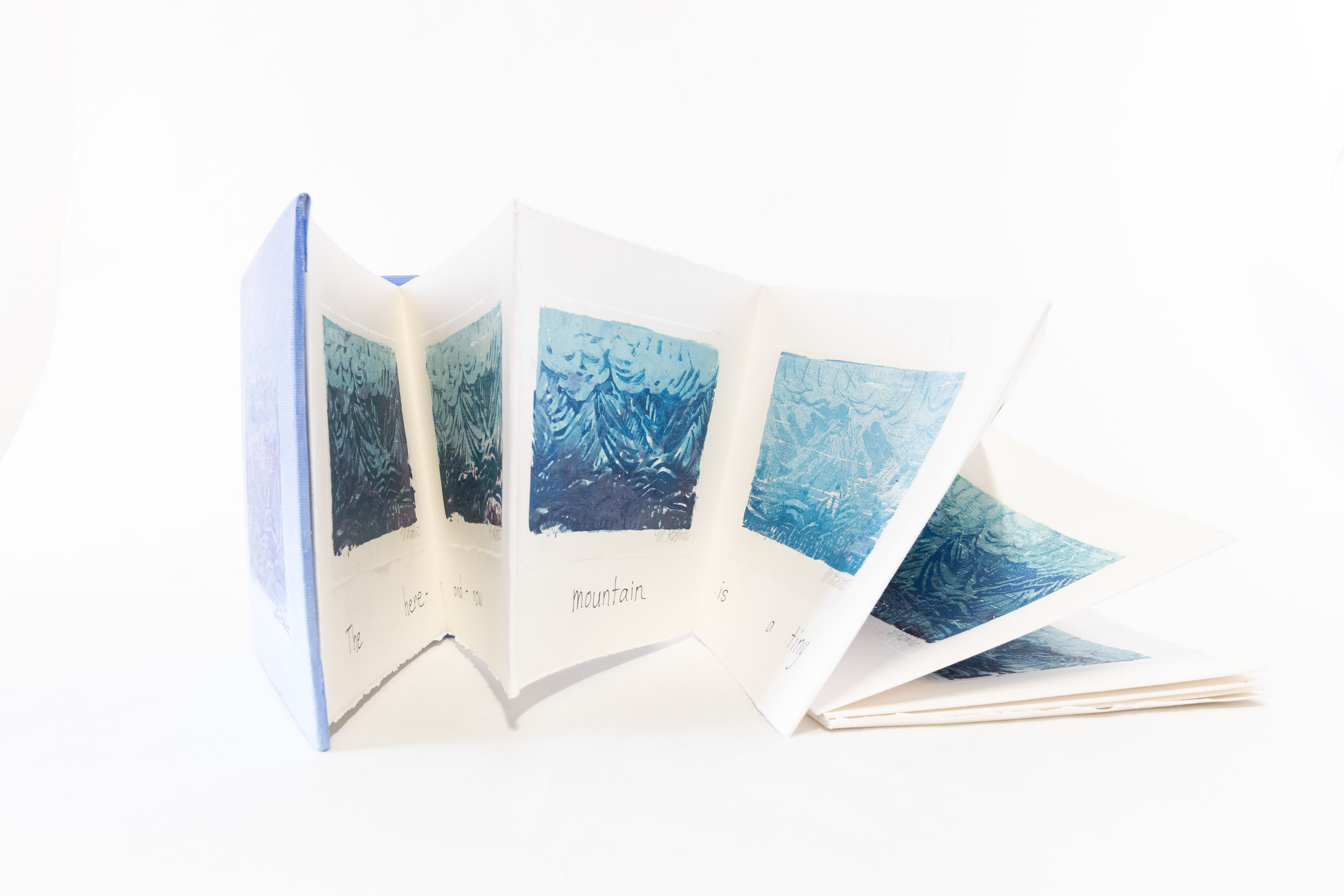 "Martha Jane Ritchie, ""Tribute to Hokusai-36 Mountain Prints-Book II,"" Mixed Medium, Styrofoam prints on rag paper, 2016, $120, Haines Jct, Canada"