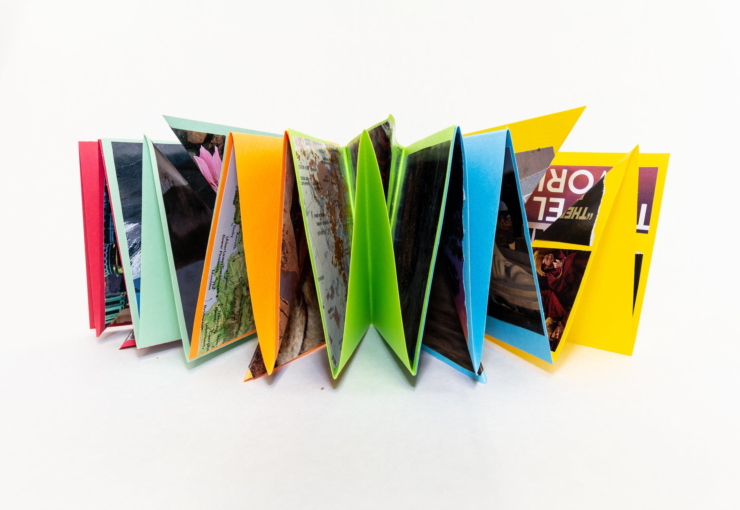 "Sue Caulfield, ""Travel,"" Collage, 2019, NFS, Kalamazoo, MI"