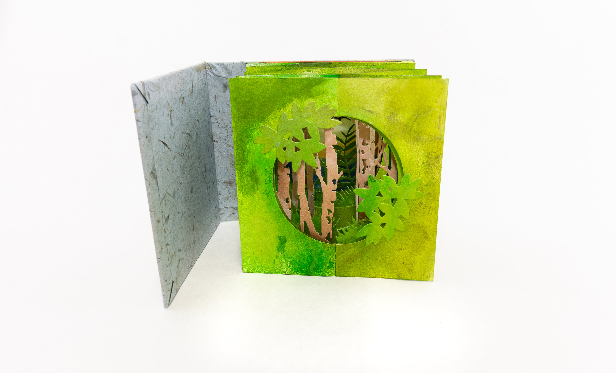 Jamila Rufaro, Double Accordion Tunnel Book, Mixed Media, paint, ink, watercolor, 2019, $180, Palo Alto, CA