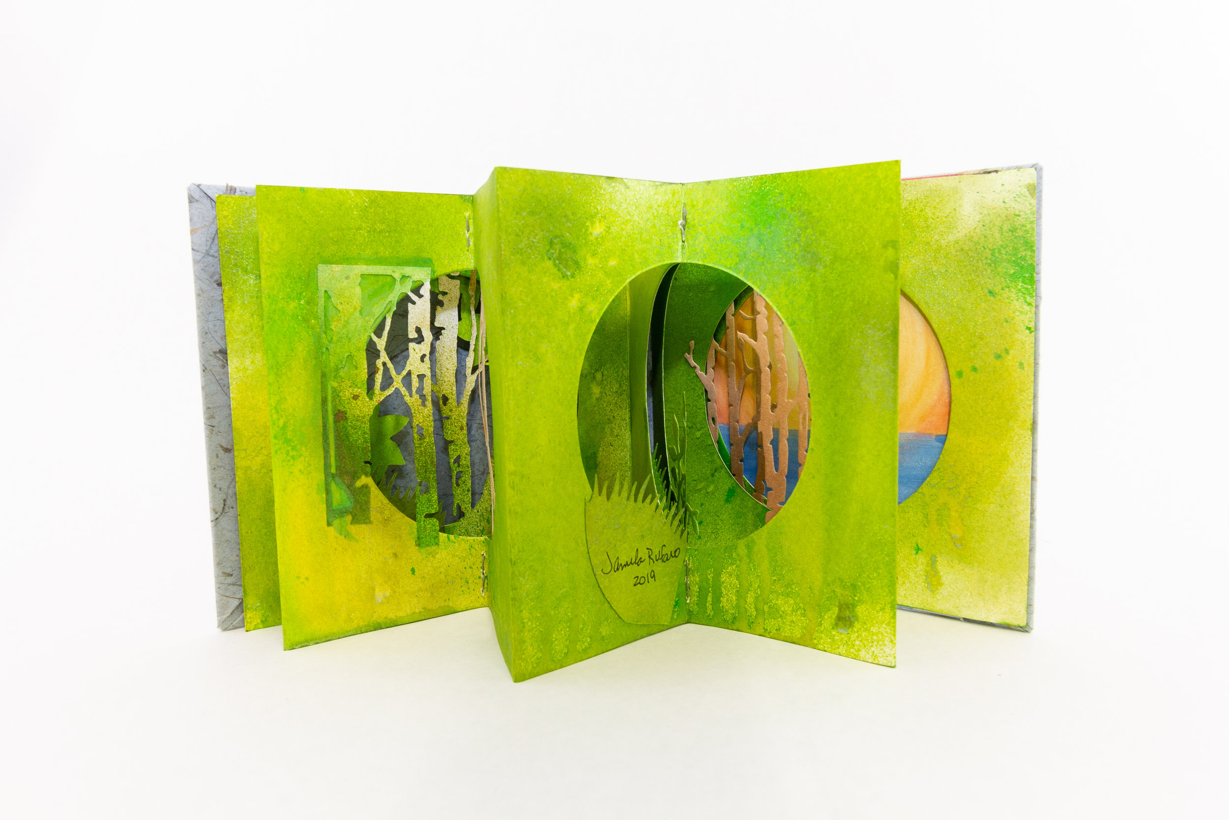 Jamila Rufaro,Double Accordion Tunnel Book, Mixed Media, paint, ink, watercolor, 2019, $180, Palo Alto, CA