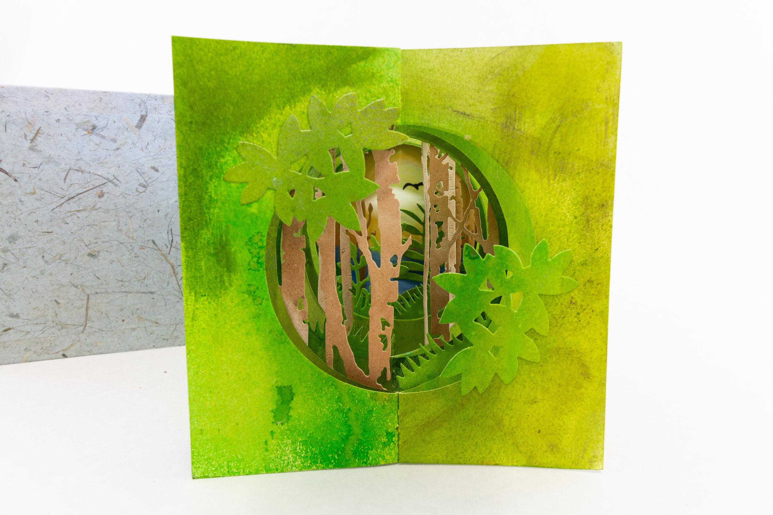 Jamila Rufaro, Double Accordion Tunnel Book, Mixed Media, paint, ink, watercolor, 2019, $180, Palo Alto, CA