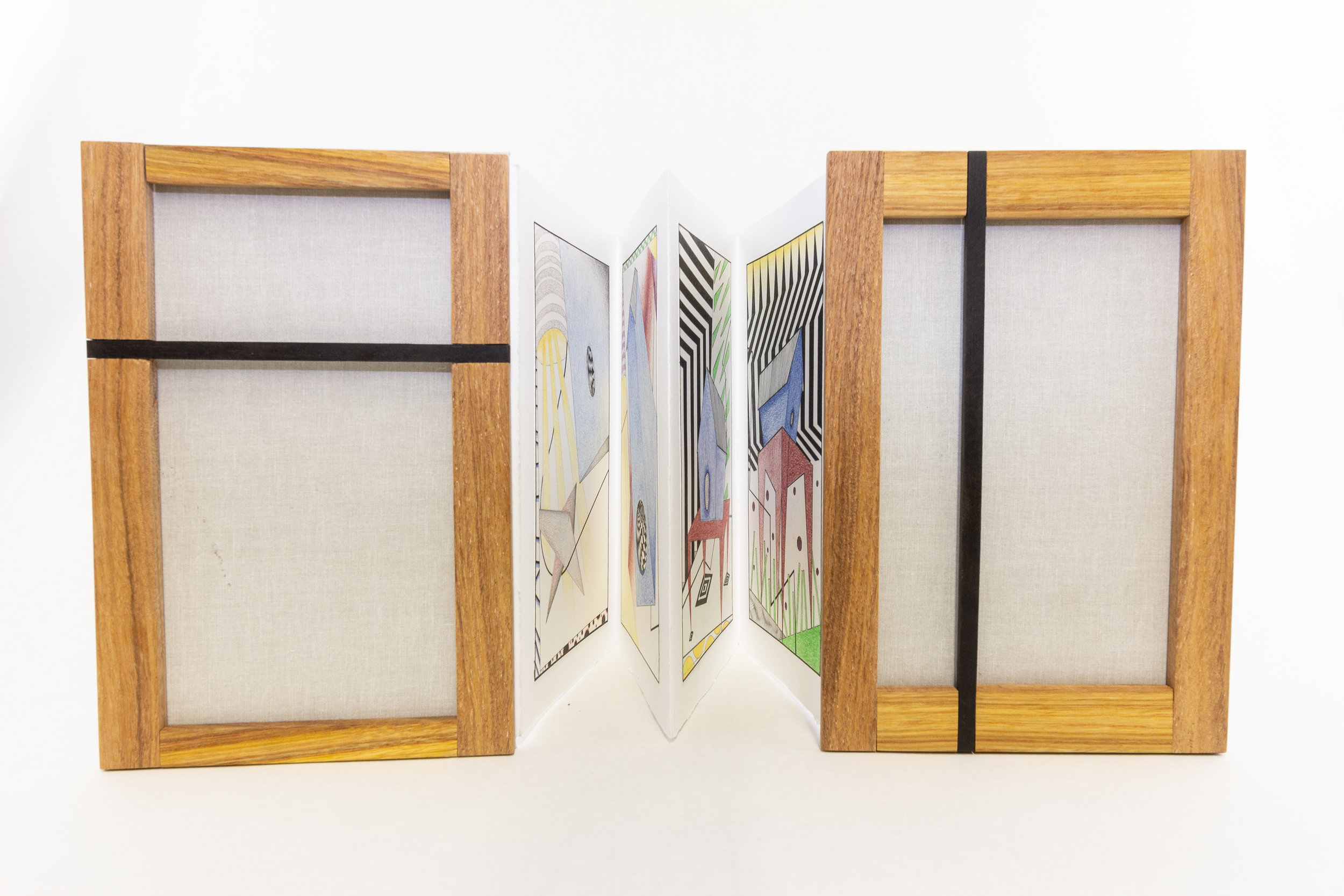 """Kyle Shields, """"Accordion #1,"""" graphite, ink, colored pencil on Stonehenge, cover: ebony, afromosia, canarywood, 2019, NFS, Portage, MI"""