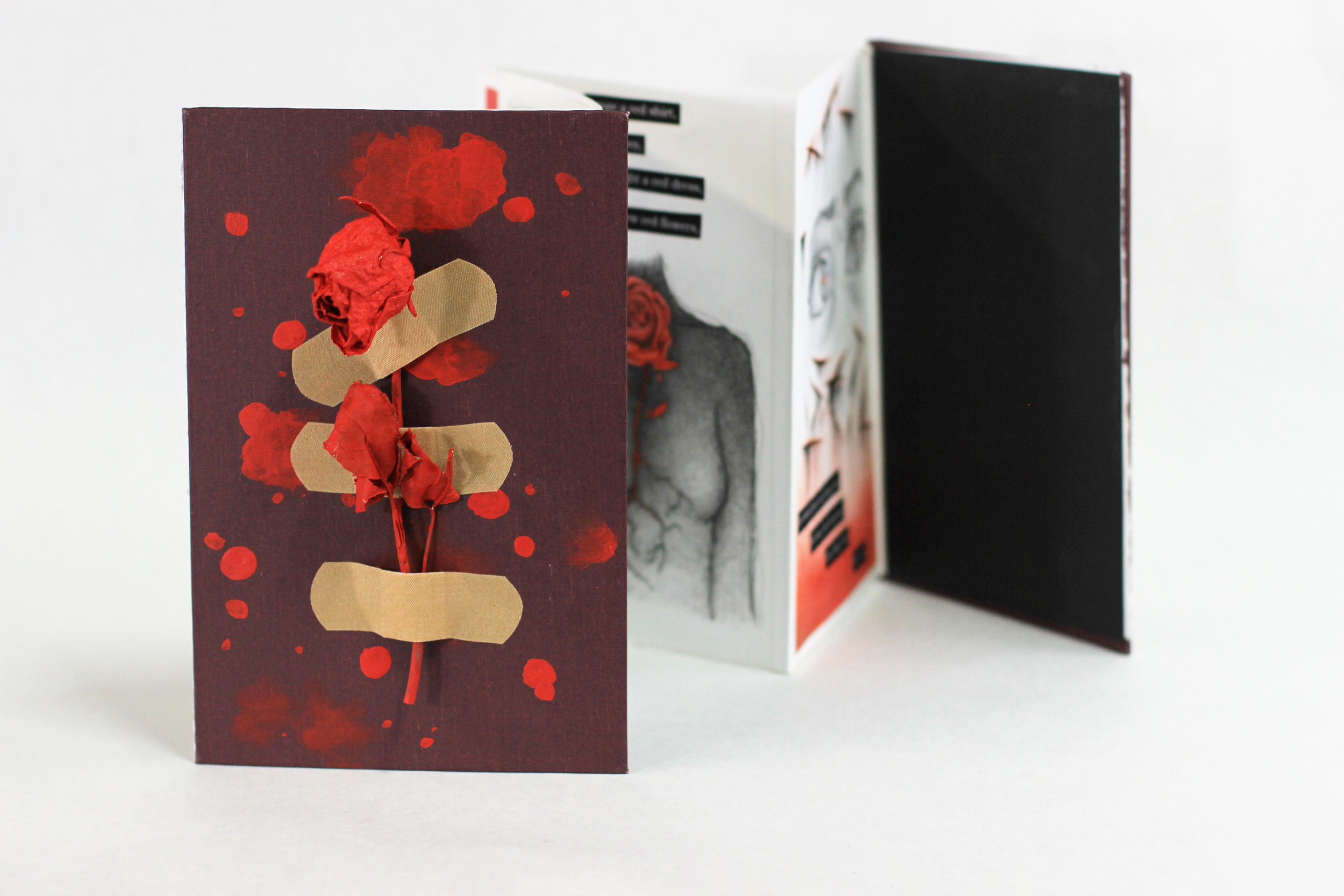 "Rebecca Federkins, ""The Color Red,"" Accordion book with pen, colored pencil, acrylic, bandaids and dried roses, 2019, Portage, MI"