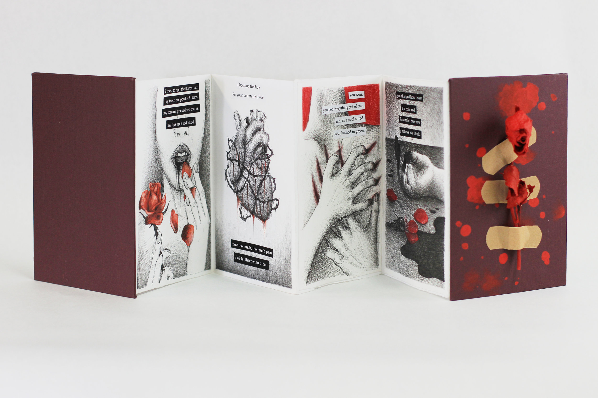 """Rebecca Federkins, """"The Color Red,"""" Accordion book with pen, colored pencil, acrylic, bandaids and dried roses, 2019, Portage, MI"""