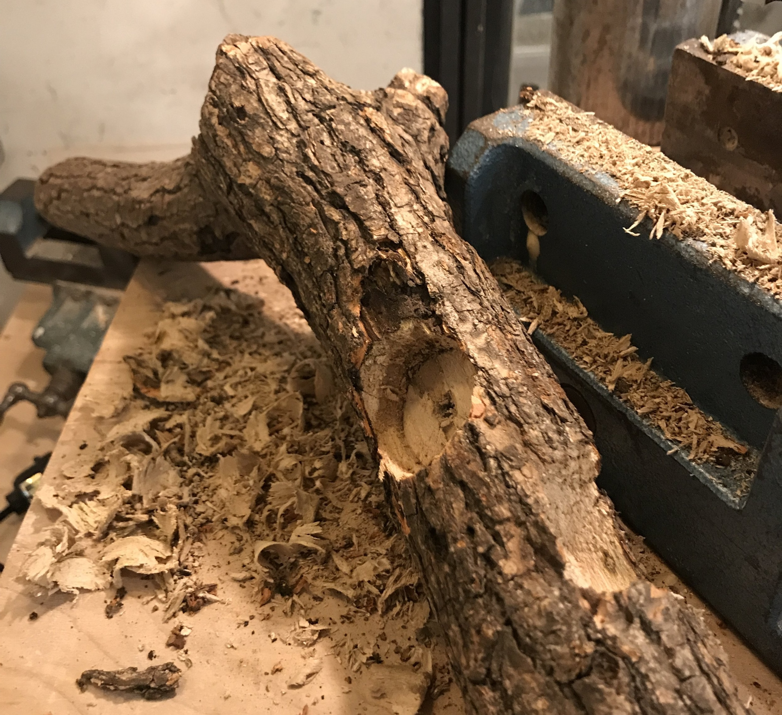 this was a test log to make sure the bit would drill well into the wood.