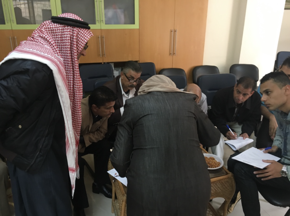 NGO's and NDC Programs officer Azhar Besiaso develop indicators that can help communities keep track of dissemination and upscaling of positive champion behaviors in Gaza to help men and boys promote gender equality.