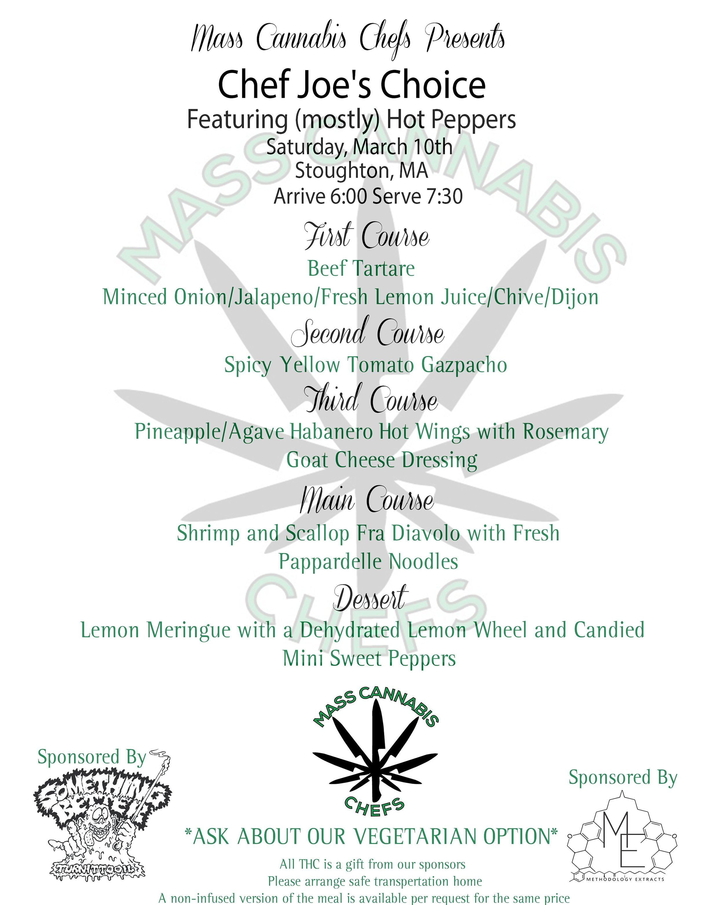 Talking Seaweed is hosting a Mass Cannabis Chefs dinner  - Click on the menu to buy tickets for the fully infused, multi course, gourmet dinner.