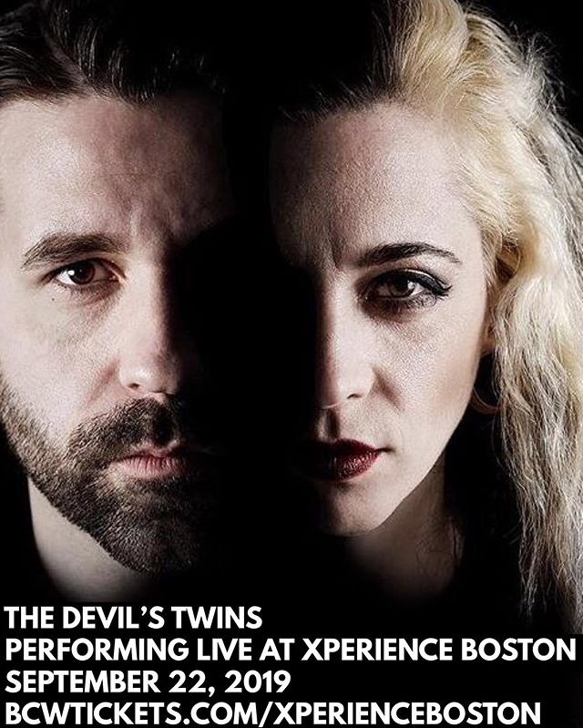 """One week from today @thedevilstwins brings noir punk greatness to the stage at #XperienceBoston. You've never experienced anything like this. Grab your tickets now at bcwtickets.com/xperienceboston. Check out the video for """"Satan's Stone"""" featuring @slainesworld ⚡️🎤🔊🎸🎬"""