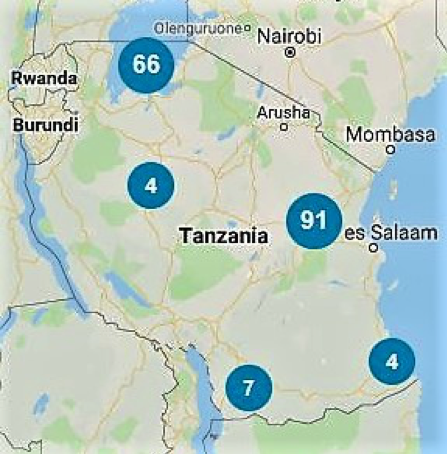 The location of projects and organization undertaking water aid work in Tanzania