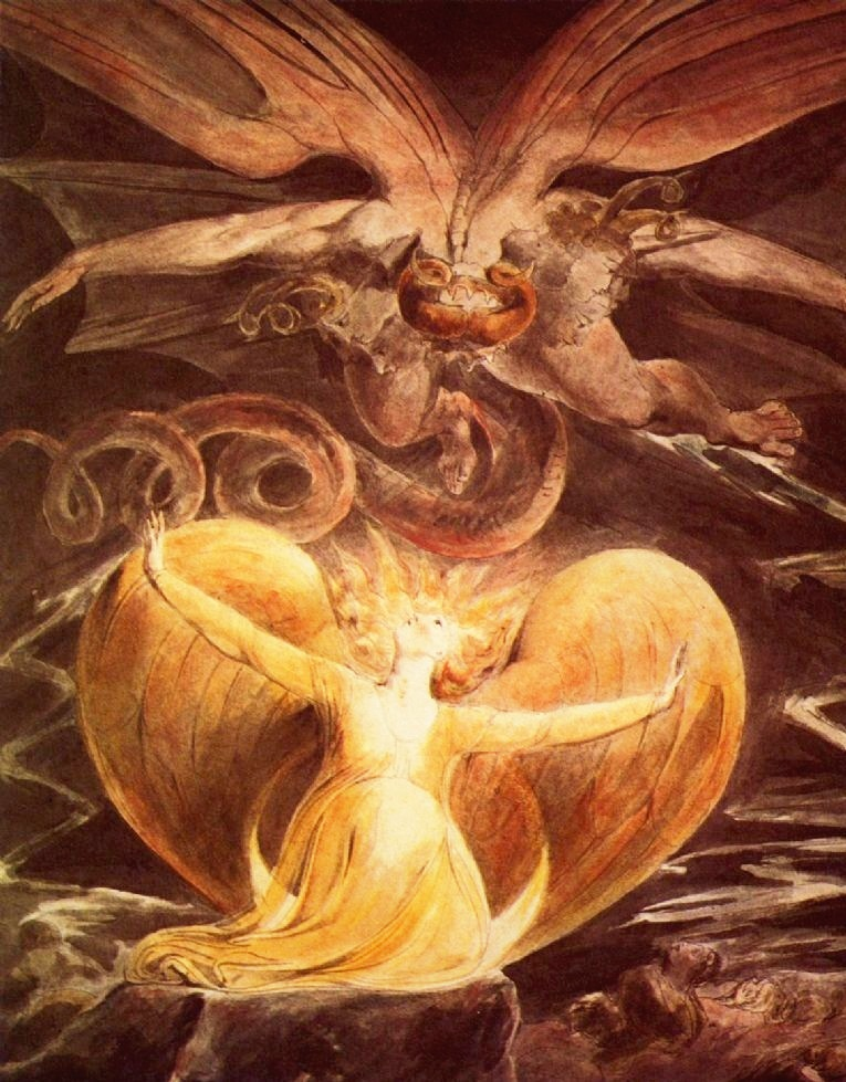 William Blake : The Great Red Dragon and the Woman Clothed with the Sun (1805)