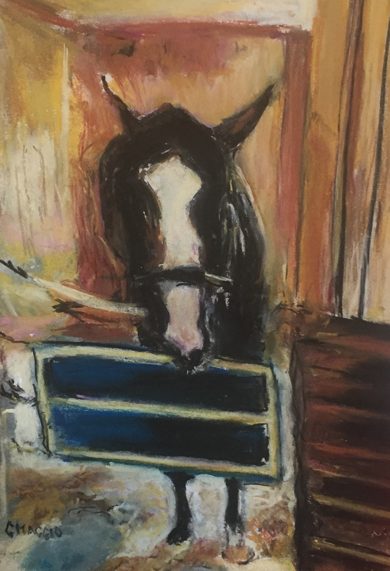 Filly in the barn, pastel, 9 x 12, SOLD
