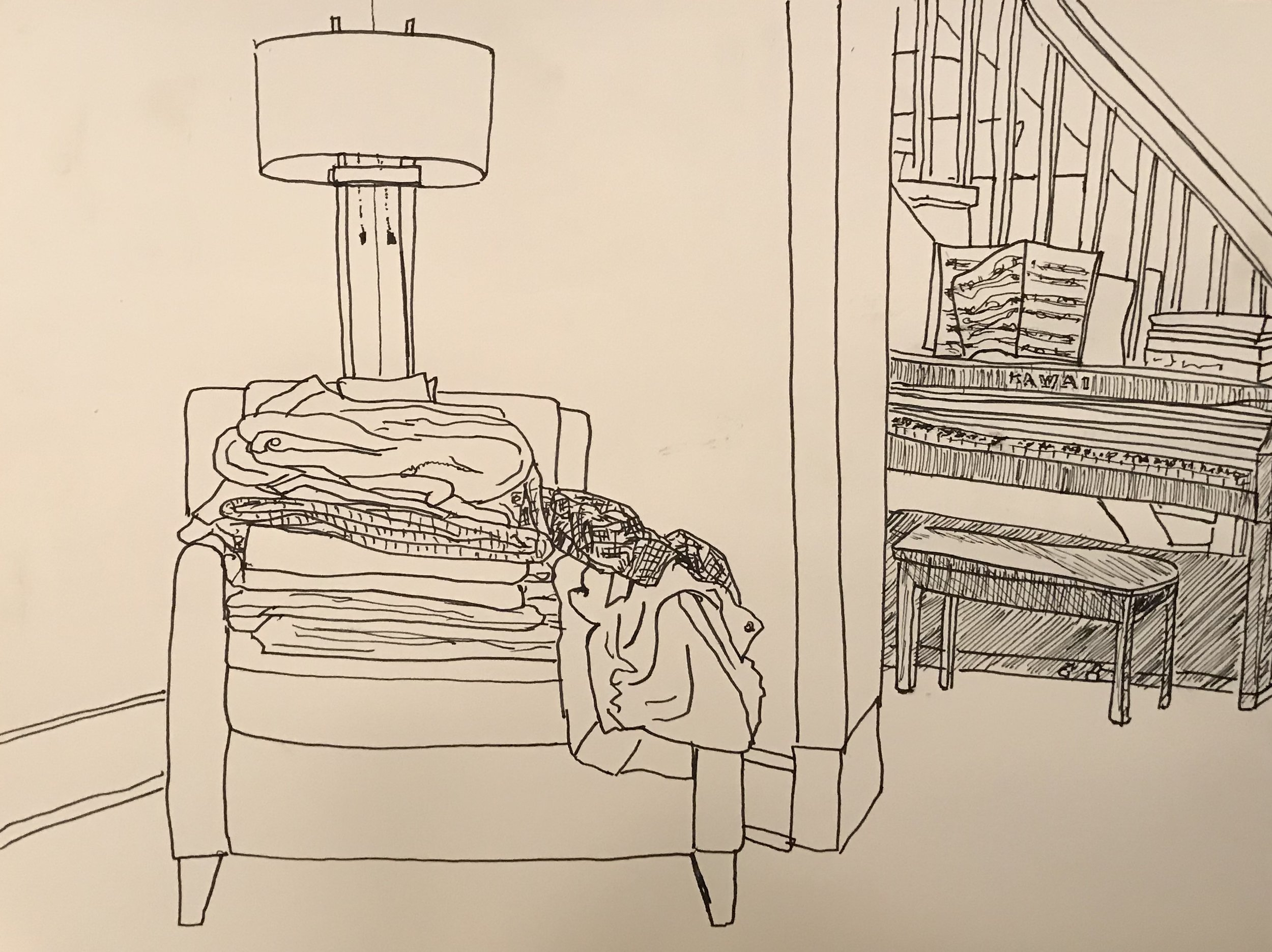 Sorting laundry, pen & ink,9 x 12, SOLD
