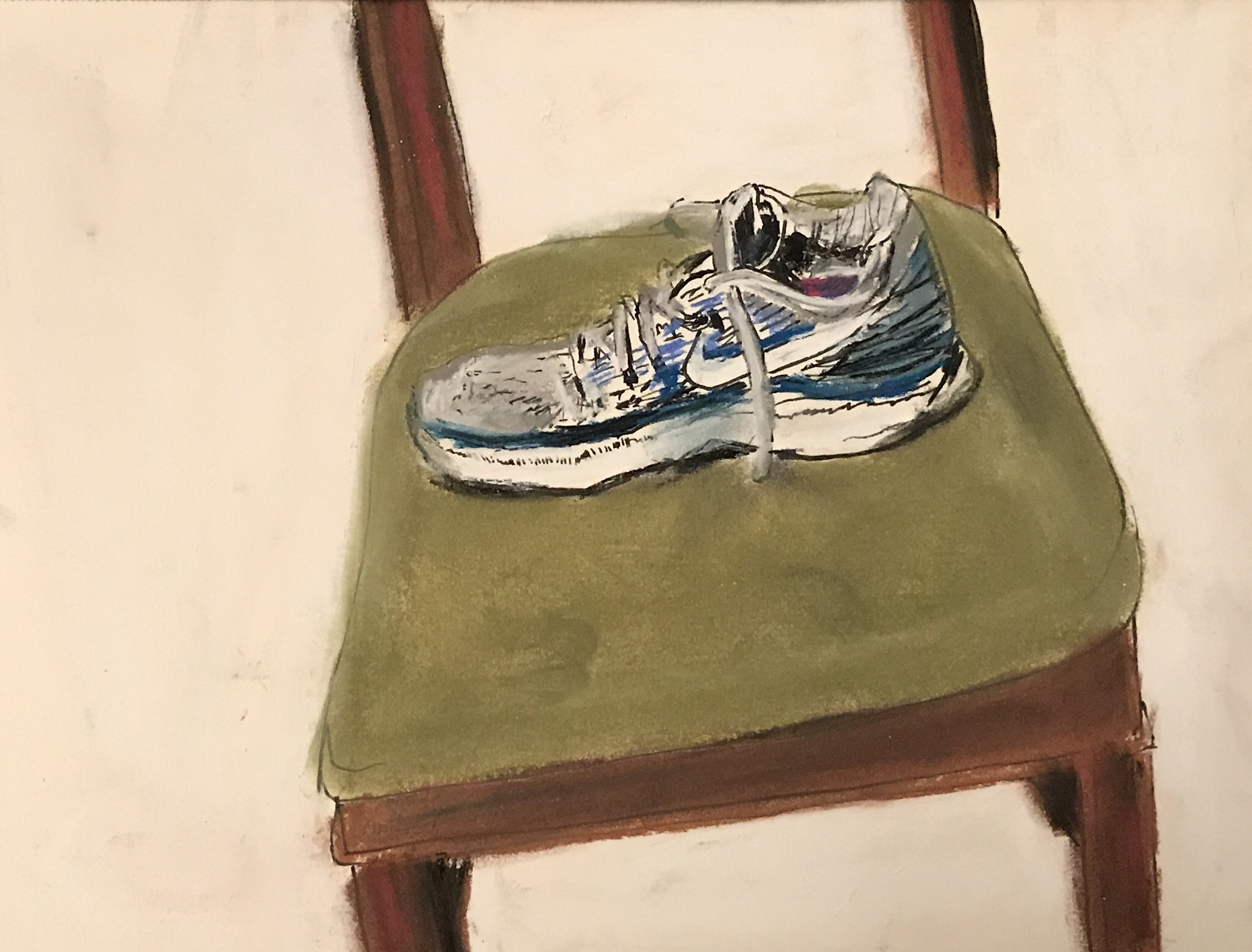 Shoes off the chair, pastel, 12x9, $35