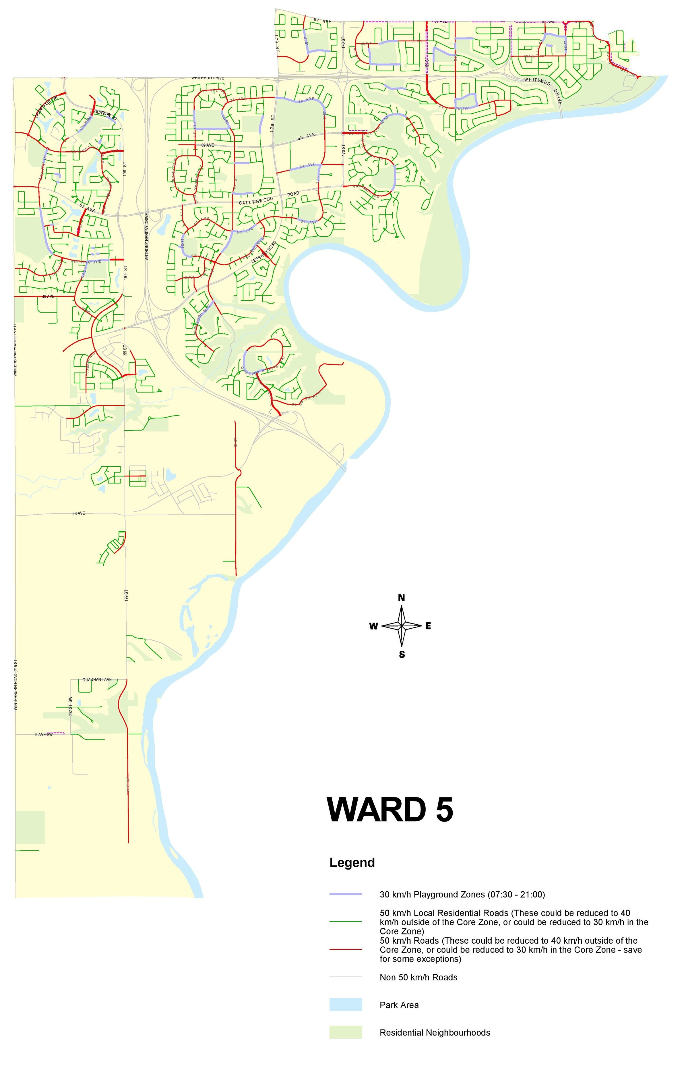This map identifies the roads in Ward 5 that would and would not be impacted by the bylaw change (click to enlarge).