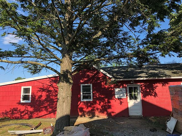 Barn is coming along nicely 😁 The siding is up on one section… Windows going in… Bunkhouse/office with a nice new coat of red paint!