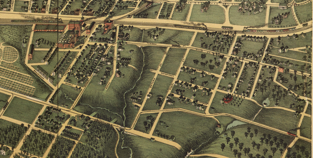1892 rendering of Atlanta. Reynoldstown is the community on the right, south of the railroad and east of the creek that separates it from Cabbagetown.