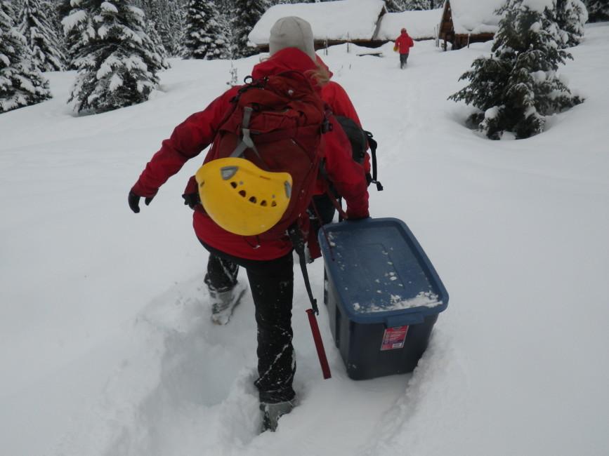 Winter hut maintenance. Photo by Nicole Larson.