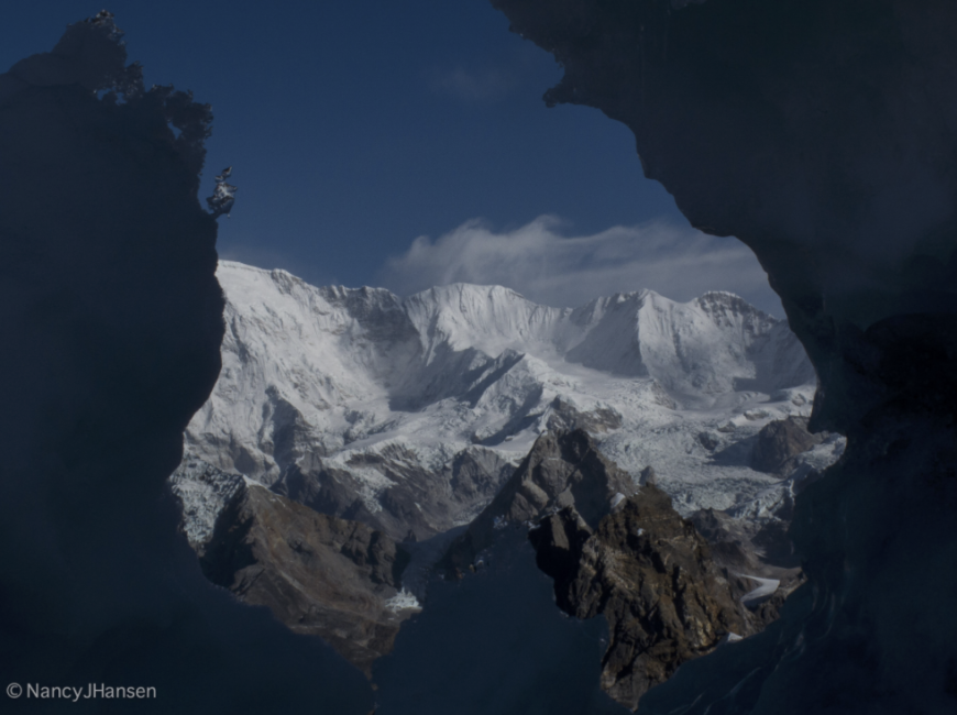 I love magic moments like this, when you get to see unique mountain art in its most natural form. The mountain behind is Cho Oyu (8,188m), with its summit just hidden on the left.