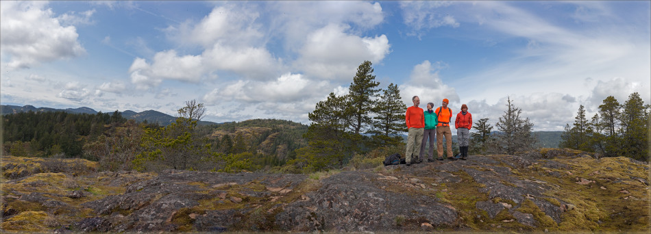 Footloose in the Sooke HIlls: (L-R) Roger Taylor, Peggy Taylor, Mike Whitney, Liz Williams. Photo by Mary Sanseverino.