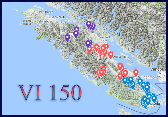Click on the image to open the VI-150 Challenge map.Clicking on any of the pinned locations on the map shows the summit date, names of those in the party, some optional notes, and at least one summit shot. For those more interested in seeing summit smiles and scenery in high resolution photos, open the  VI-150 image collection .
