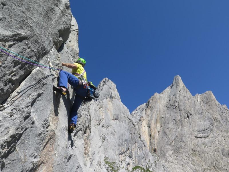 Climbing the scenic KleinSimmelistock, Angel Horns, Switzerland.