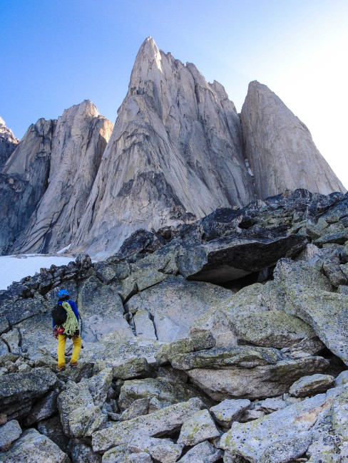 The Beckey-Chouinard Route goes up the buttress to the highest point.