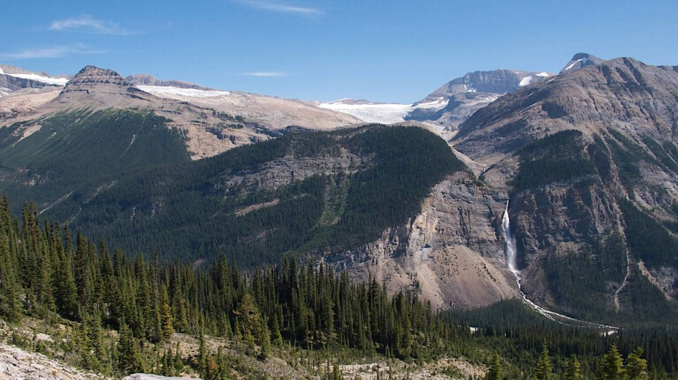 Takakkaw Falls from the Iceline Trail on the hike out from Stanley Mitchell Hut.