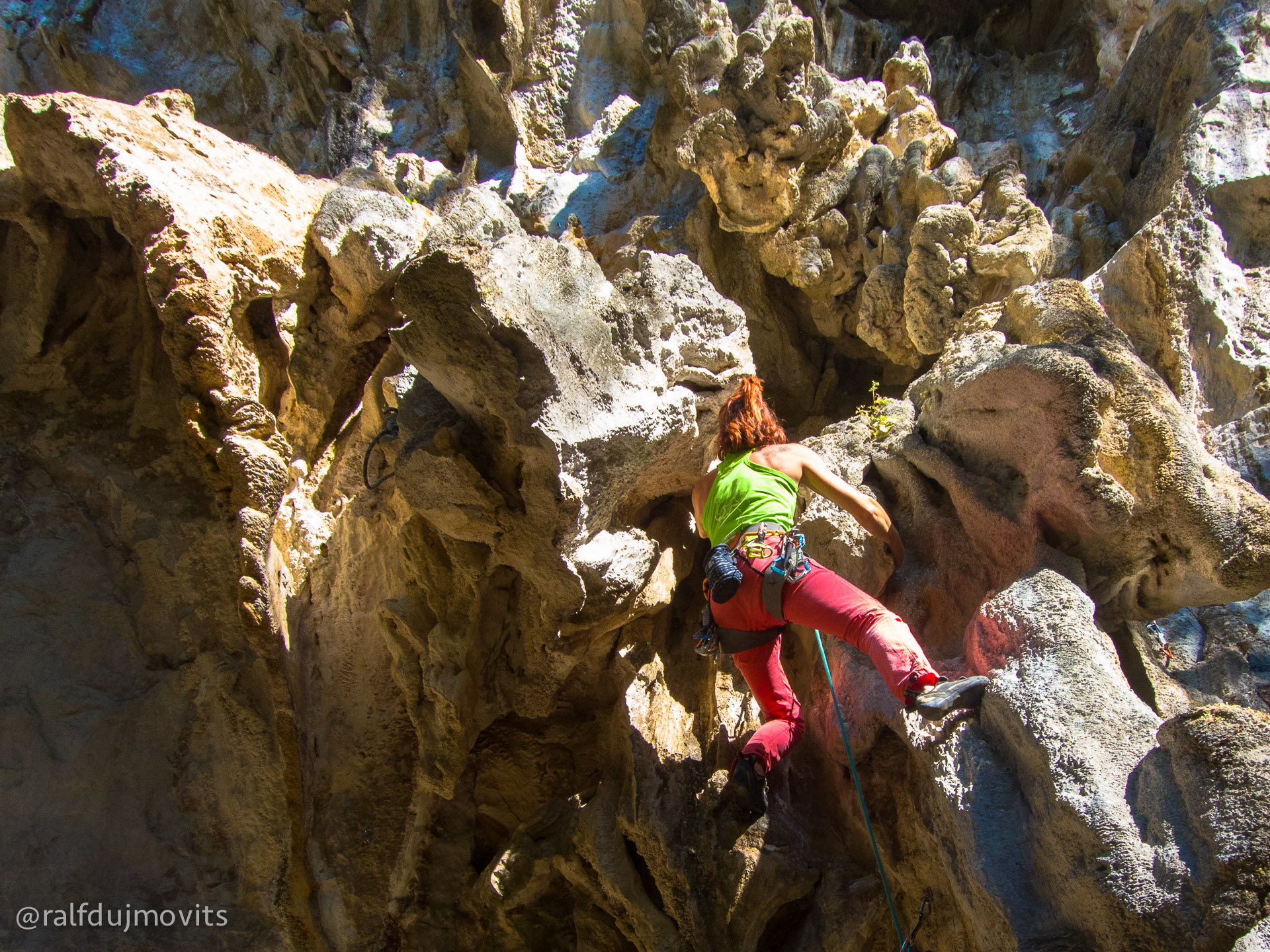 Even the 5.9 routes are wildly overhanging!