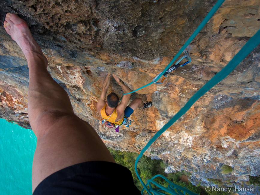 We climbed several FUN multi-pitch routes above the sea and its lovely breeze.