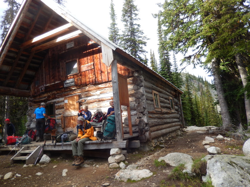 History break at the old Slocan Chief Cabin. Photo by Rick McKelvey.