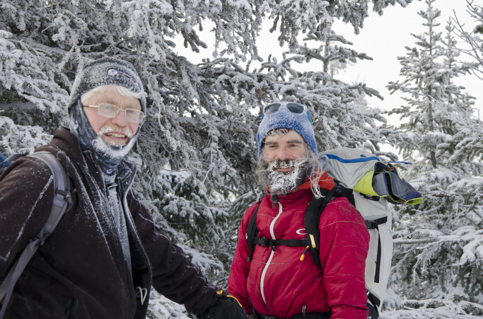 David and Chip competing in the snowiest beard contest. Photo by Julie Burkart.