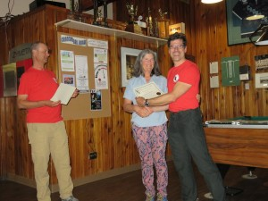 Val receiving her certificate of 25 years of membership, and all in the RM section. Photo from RMS collection.