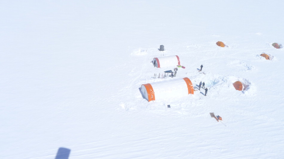 Base camp as seen on approach. Photo by Barret Hatton.