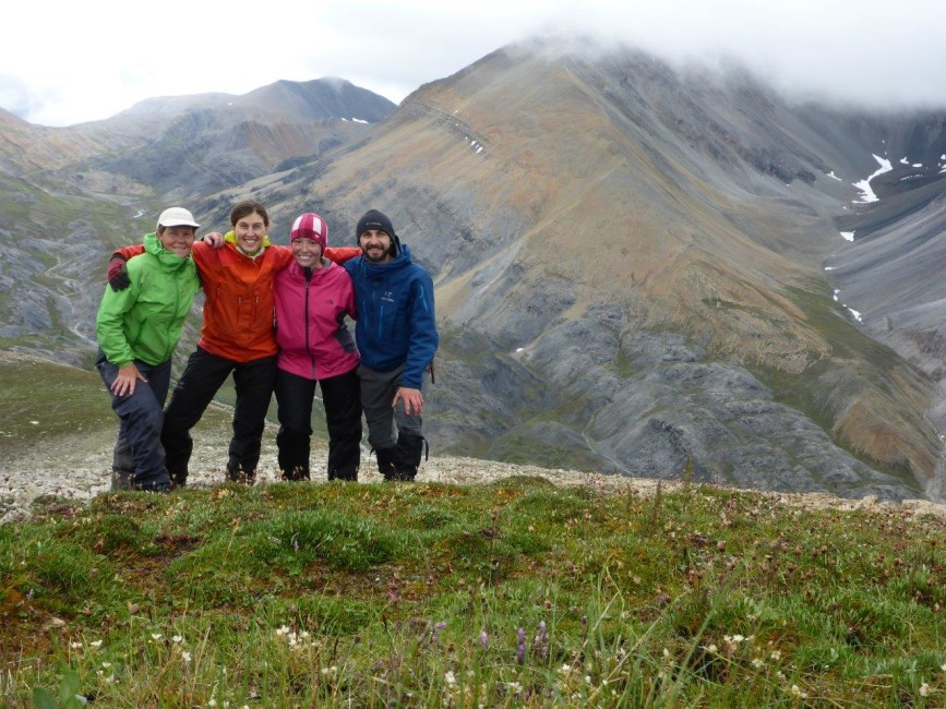 Wendy Shanks, Jenny George, Amy Tanner and Eddy Fast after some hard earned elevation. Photo by Wendy Shanks.