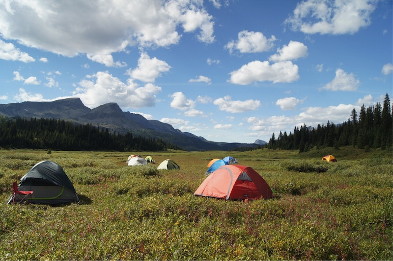 Group camp participant tents set up in O'Brien Meadows with a view of Nub Peak. Photo by Susan Courty.