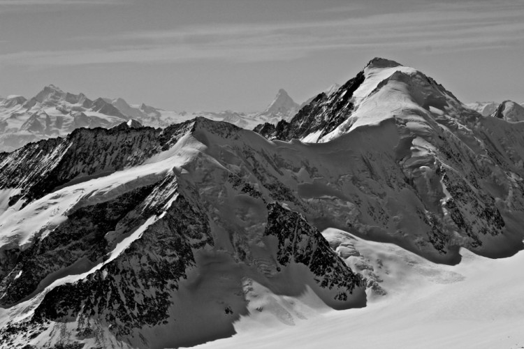 Aletschhorn (4,193m) with the Matterhorn to the left.