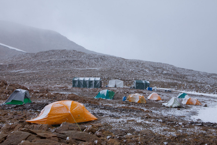 Work camp with new snow. Photo by Roger Vernon.