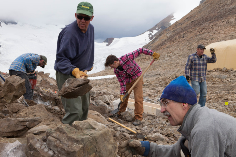 Building a mountain hut. Photo by Roger Vernon.