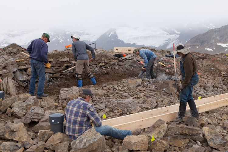 Foundation digging, Louise and Richard Guy Hut. Photo by Roger Vernon.