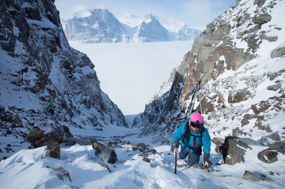 Topping out of Escort Couloir with Great Cross Pillar beyond the fjord. Photo by Dan Evans.