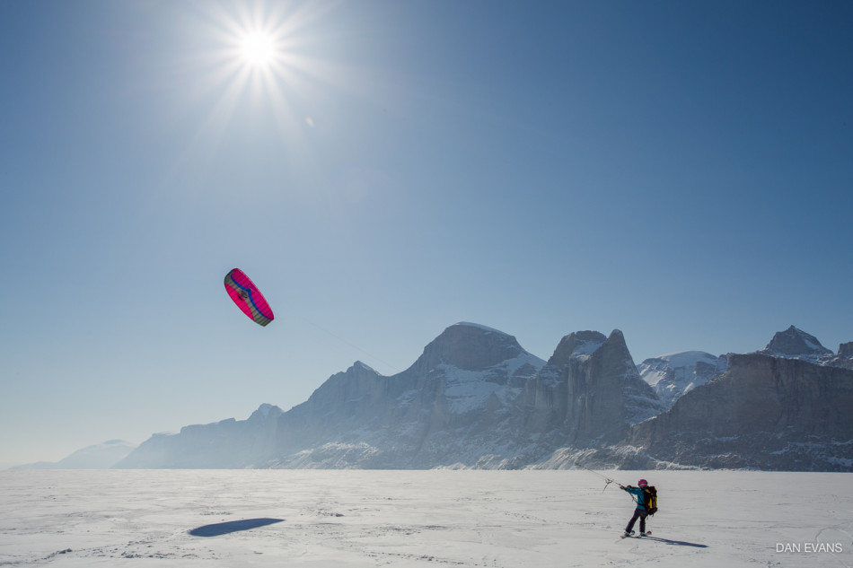 Here I am learning to kite ski on Baffin Island. Photo by Dan Evans.