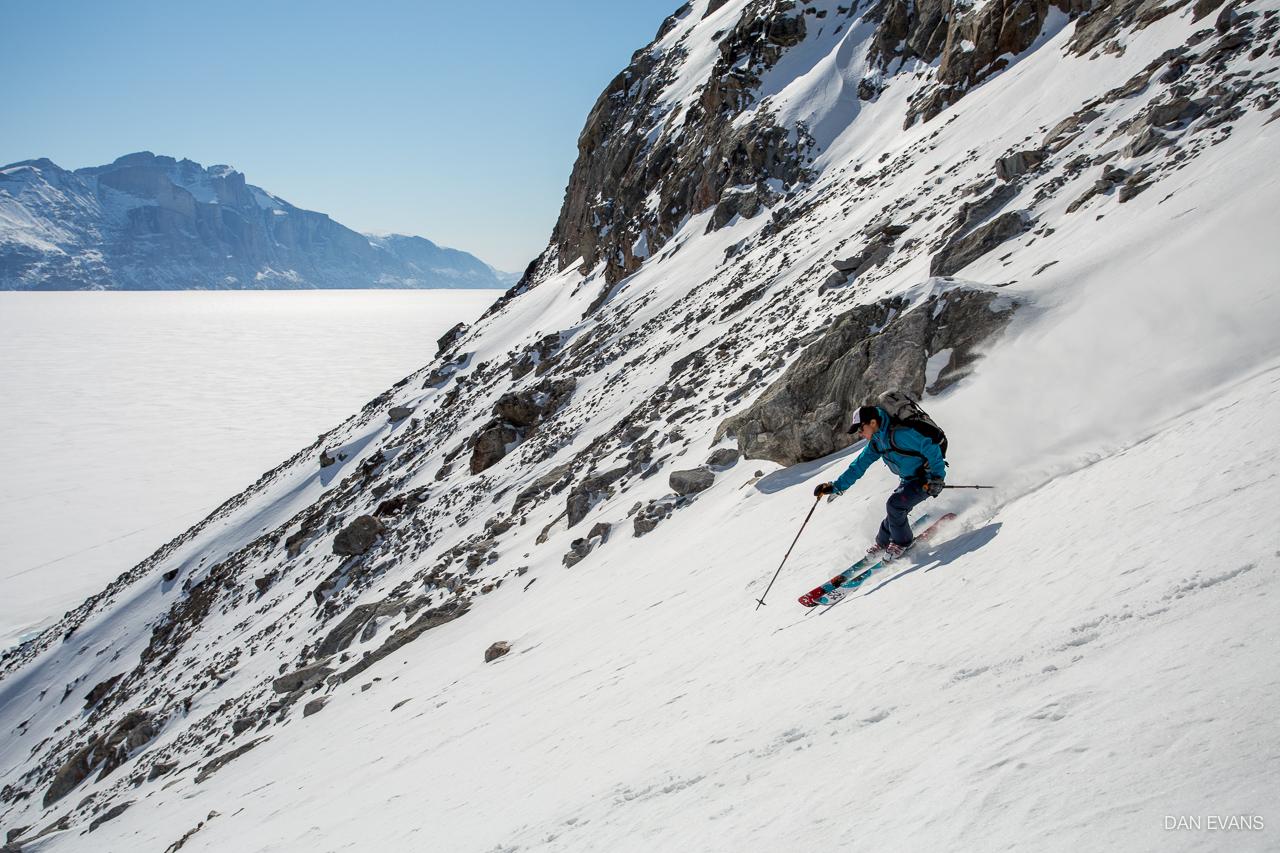 Skiing down Iron Cross. Photo by Dan Evans.